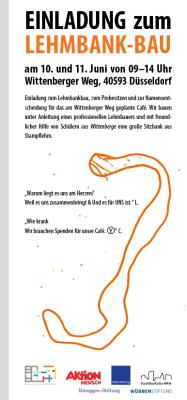 Flyer Einladung zum Lehmbank-Bau beim Wiesencafé, Vorderseite