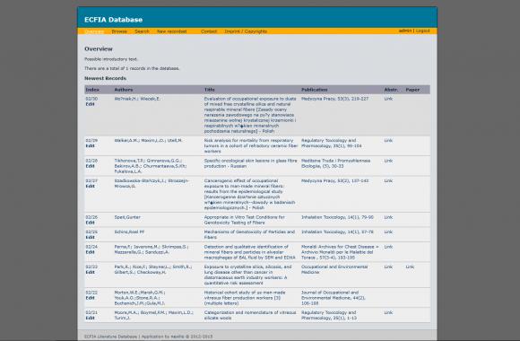 Screen ECFIA-Datenbank mit Liste der neuesten Einträge