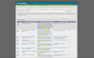 Screen ECFIA-Datenbank mit Markierungen im Suchergebnis einer Volltextsuche