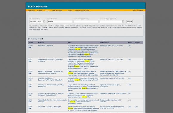 Screen ECFIA-Datenbank mit Markierungen im Suchergebnis