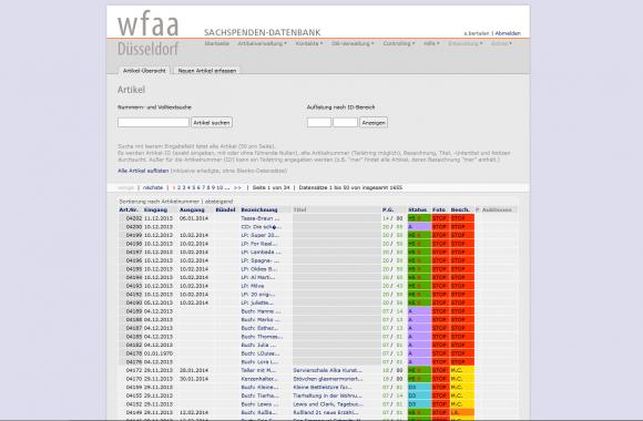 SDB-Datenbank, Artikelverwaltung Übersicht