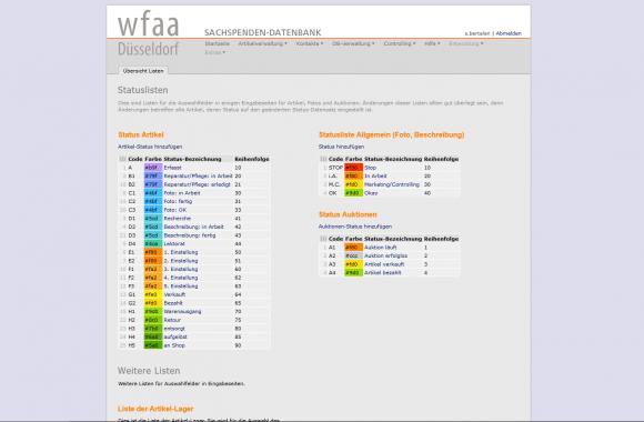 SDB-Datenbank, Status-Verwaltung Übersicht